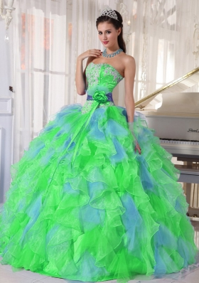 Multi-color Sweetheart Appliques Quinceanera Dress with Green Flower