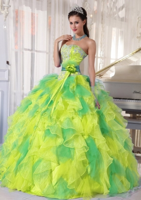 Appliques and Ruffles Floor-length Quinceanera Dress for 2014 Spring