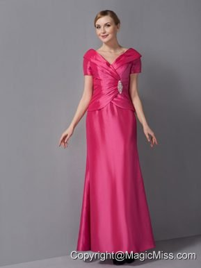 Hot Pink Column V-neck Ankle-length Taffeta Ruch Mother Of The Bride Dress