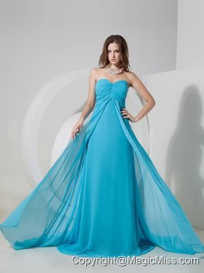 Aqua Blue Empire Sweetheart Brush Train Chiffon Ruch Prom Dress