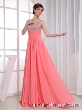 Beading Empire Straps Watermelon Chiffon Floor-length Prom Dress