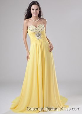 Sweetheart Chiffon Beading Brush/Sweep Prom Dress Empire Yellow