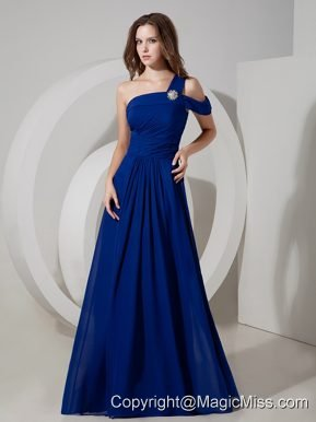 Blue Empire One Shoulder Floor-length Chiffon Ruch Prom Dress