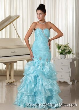 Ruched Bodice and Ruffles 2013 Mermaid Baby Blue Prom Dress Sweetheart