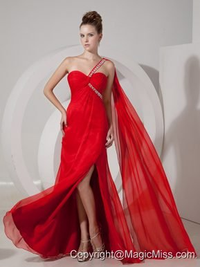 Custom Made Red Empire One Shoulder Prom / Evening Dress Chiffon Beading Watteau Train