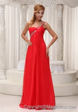 Beaded Decorate One Shoulder Red Chiffon Floor-length For 2013 Prom / Evening Dress