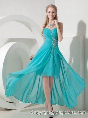 Turquoise Column Sweetheart High-low Chiffon Beading Prom Dress