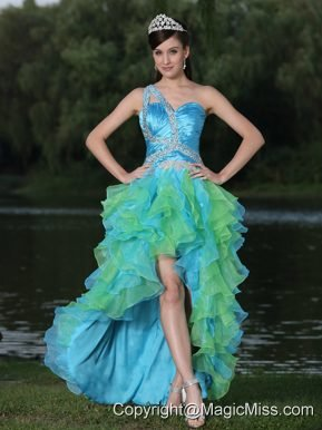 High-low Multi-color Prom Dress In Graduation Party With Ruffles One Shoulder Beaded Decorate