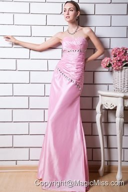 Baby Pink Column Sweetheart Prom Dress Taffeta Beading Floor-length