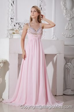 Light Pink Straps Chiffon Prom Dress with Gold and Silver Beading