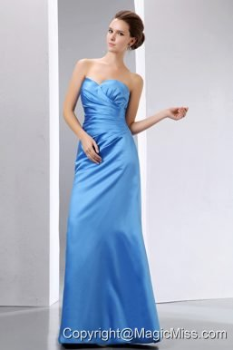 Baby Blue Column Sweetheart Floor-length Taffeta Ruch Prom Dress