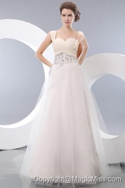 White A-line Straps Floor-length Tulle Beading Prom / Evening Dress
