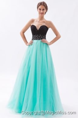 Black and Turquoise A-line Sweetheart Floor-length Tulle Beading Prom Dress