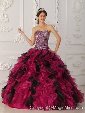 Multi-color Ball Gown Sweetheart Floor-length Leopard and Organza Ruffles Quinceanera Dress