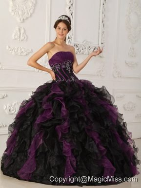 Purple and Black Ball Gown Strapless Floor-length Taffeta and Organza Beading Quinceanera Dress