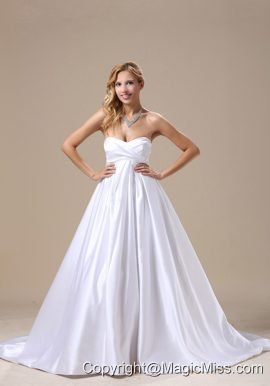 A-line Wedding Dress With Satin Sweetheart Brush Train