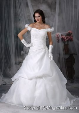 Elegant A-line Off The Shoulder Sweep Train Taffeta and Organza Appliques With Beading Wedding Dress