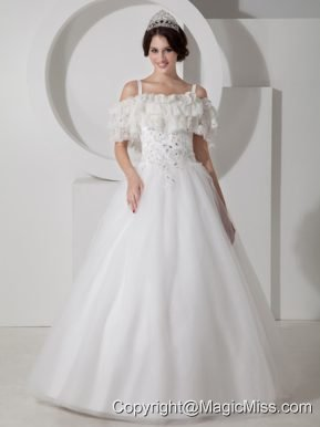 Beautiful A-line Straps Floor-length Tulle Appliques Wedding Dress