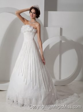 Modest A-line Strapless Brush Train Satin Appliques Wedding Dress