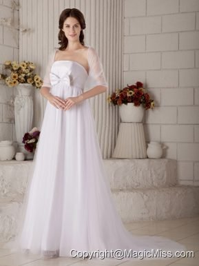 Gorgeous A-line Strapless Brush Train Tulle Bow Wedding Dress