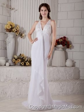 Impression Mermaid V-neck Brush Train Chiffon Lace and Beading Wedding Dress