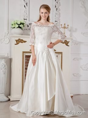 Brand New A-line Off The Shoulder Court Train Taffeta Lace Wedding Dress