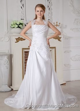 Sexy A-line Square Court Train Taffeta Appliques Wedding Dress
