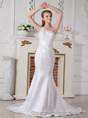 Informal Mermaid One Shoulder Court Train Satin Lace Wedding Dress