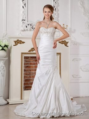 Modest A-line Sweetheart Court Train Taffeta Appliques and Ruch Wedding Dress