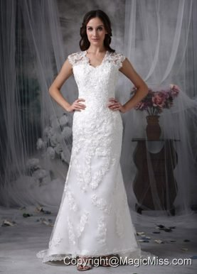 Beautiful Column V-neck Brush Train Lace Wedding Dress