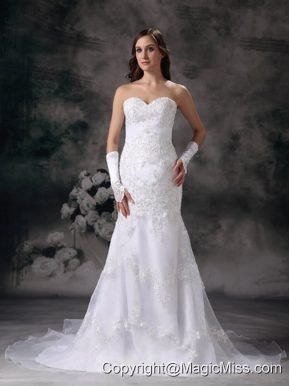 Brand New Mermaid Sweetheart Chapel Train Organza Embroidery with Beading Wedding Dress