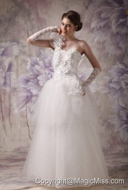 Elegant A-line One Shoulder Floor-length Organza Beading Wedding Dress
