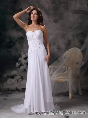Romantic Column Sweetheart Brush Train Chiffon Beading Wedding Dress