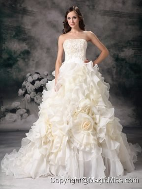 Beautiful A-line Strapless Chapel Train Organza Hand Made Flower Wedding Dress