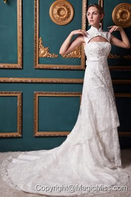 Modest A-line High-low Chapel Train Lace Sash Wedding Dress