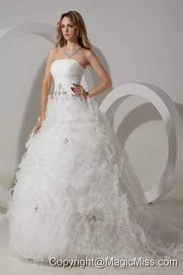 Perfect Ball Gown Strapless Court Train Tulle Beading Wedding Dress