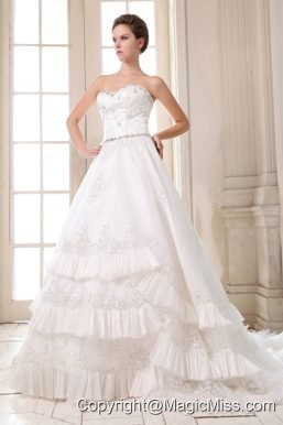 Beautiful A-line Sweetheart Court Train Taffeta Beading and Appliques Wedding Dress