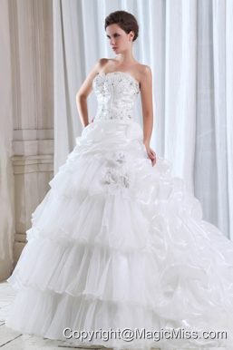 Roamntic A-line Strapless Court Train Organza Beading and Appliques Wedding Dress