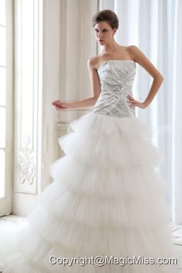 Best A-line Strapless Court Train Tulle Beading Wedding Dress