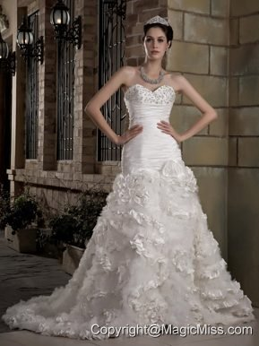 Gorgeous A-line Sweetheart Court Train Taffeta and Tulle Beading Wedding Dress