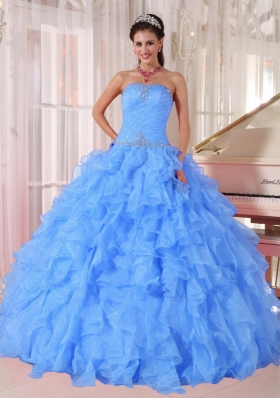 Custom Make Ball Gown Strapless Ruffles and Beading Floor-length Organza Beading Blue Quinceanera Dress