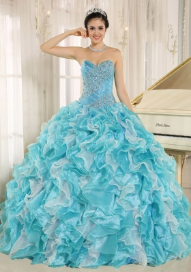 Beaded Ruffles Custom Made For 2013 Aqua Blue Plus Size Quinceanera Dresses