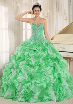Green Beaded and Ruffles Custom Made For  Sweetheart 2013 Quinceanera Dresses