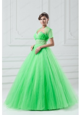 Spring Green Sweetheart Beaded Decorate Quinceanera Dress in Long
