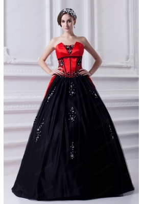 Cheap Strapless Appliques Black and Red Quinceanera Dress with Brush Train