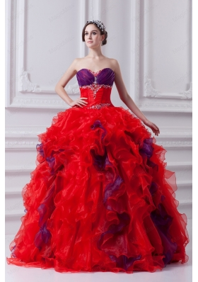 Fashionable Sweetheart Multi-color Quinceanera Dress with Ruffles