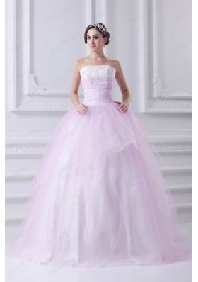 Cute Ball Gown Strapless Beading and Appliques Baby Pink Quinceanera Dress