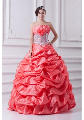 2015 Watermelon Ball Gown Strapless Beading Quinceanera Dress with Side Zipper