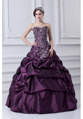 Cheap Eggplant Purple Sweetheart Embroidery and Pick Ups Quinceanera Dress