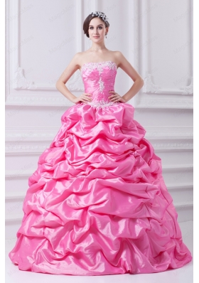 Pretty Rose Pink Strapless Appliques 2015 Quinceanera Dress with Appliques